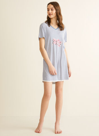 Comfort & Co. - Lace Trim Nightshirt, Blue,  spring summer 2020, nightgown, night shirt, pyjama