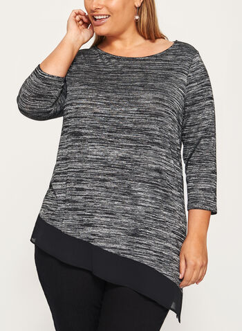Asymmetric Chiffon Trim Tunic, Grey, hi-res