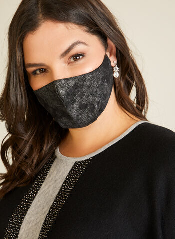 Crosshatch Print Mask, Silver,  mask, fabric, print, reusable, washable, fall winter 2020