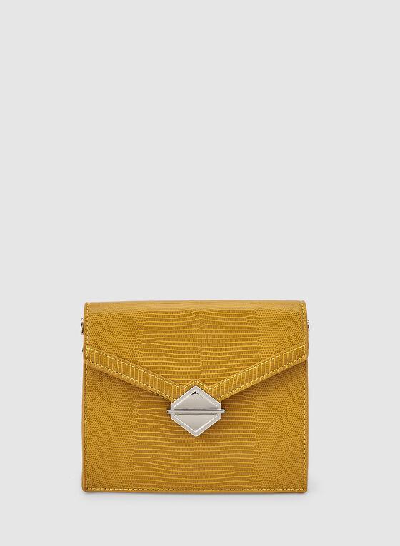 Flapover Handbag, Yellow