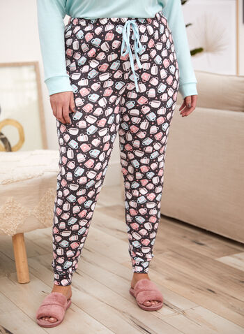 Coffee Print Pyjama Set, Blue,  ONLINE EXCLUSIVE, fall winter 2021, fall 2021, sleepwear, pyjama, pyjama set, pj, sleep, coffee, slogan, coffee print, tee, long sleeve, pants, pull-on, slim leg, elastic waist