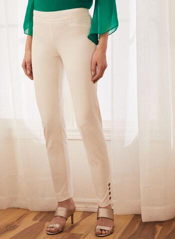 Pantalon coupe cité à détails œillets, Blanc cassé,  pantalon, cité, jambe étroite, pull-on, œillets, printemps été 2020