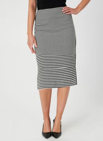 Houndstooth Print Skirt, Black, hi-res,  pencil skirt. contrast trim, fall 2019, winter 2019