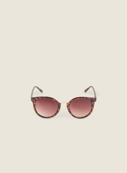 Round Tortoise Print Sunglasses, Brown