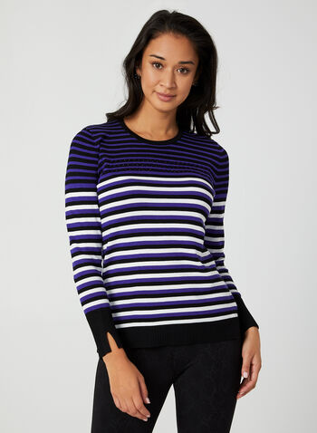 Stripe Print Sweater, Black,  sweater, stripe print, striped sweater, long sleeves, rhinestones, fall 2019, winter 2019