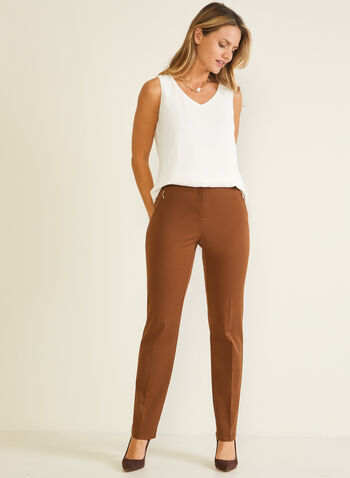 Modern Fit Straight Leg Pants, Brown,  pants, modern, straight, pockets, pleats, fall winter 2020