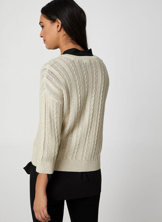 Pull en tricot et fibres métallisées, Blanc cassé