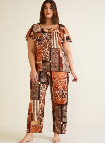 Abstract Print Pyjama Set, Brown,  fall winter 2020, pj, pyjama, sleepwear, abstract, print, scoop neck, v cutout, tie detail, short sleeve, ruffle, trim, comfort, stretch, wide leg, elastic waist