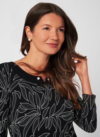 Haut en jersey à motif feuilles , Noir,  Fait au Canada, haut, jersey, motifs feuilles, manches 3/4, automne 2019, hiver 2019