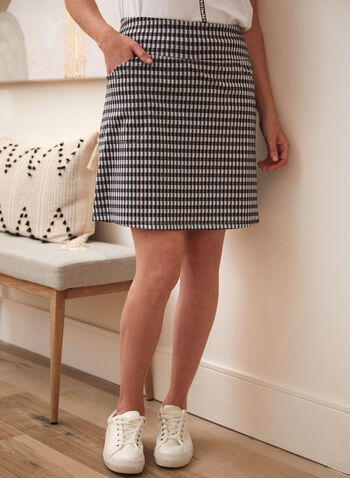 Plaid Print Pencil Skort, White,  spring summer 2021, bottoms, skirts, shorts, made in Canada, pull on, pocketed, checker print