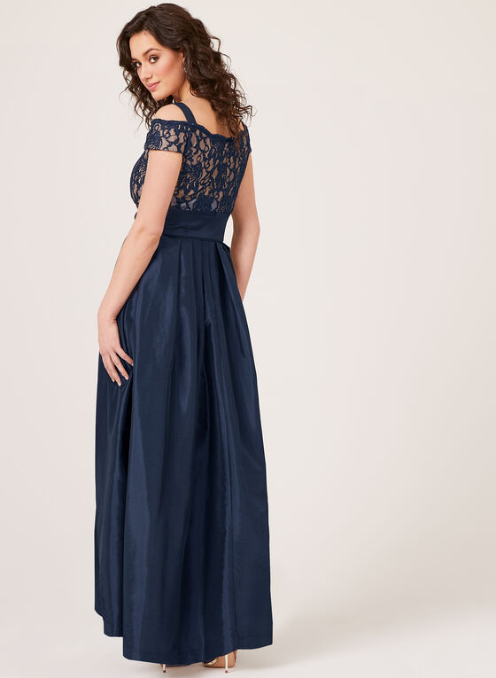 Off The Shoulder Ball Gown , Blue, hi-res