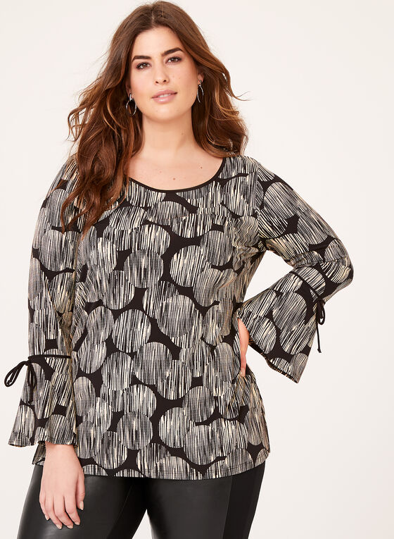 Graphic Print Bell Sleeve Top, White, hi-res