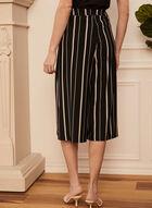 Pantalon gaucho à rayures verticales , Noir