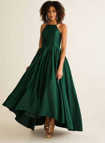 Apron Neck Satin Ball Gown, Green,  prom dress, ball gown, satin, apron neck, pockets, crinoline, sleeveless, spaghetti straps, spring summer 2020