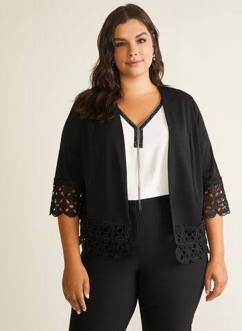 Lace Detail Open Front Top, Black,  top, open front, crochet lace, 3/4 sleeves, crepe, spring summer 2020