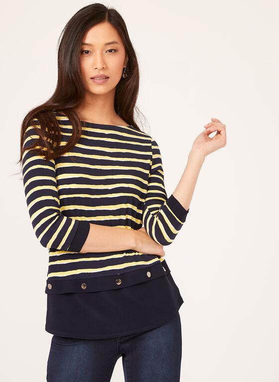 Stripe Print Jersey Top , Blue, hi-res