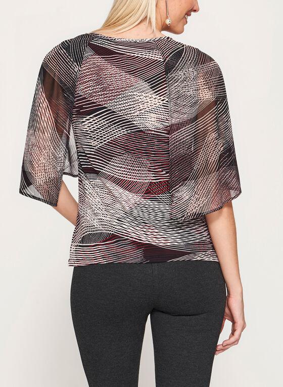 Haut style cape et motif abstrait, Noir, hi-res