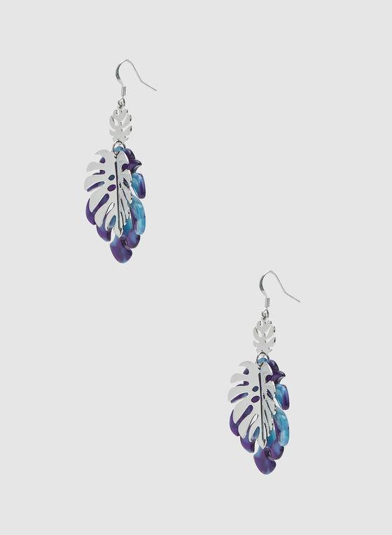 Boucles d'oreilles à feuilles en métal et lucite, Bleu, hi-res