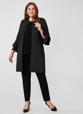 Joseph Ribkoff - Bell Sleeve Jacket, Grey,  bell sleeves, fall winter 2019, ponte de roma, long jacket