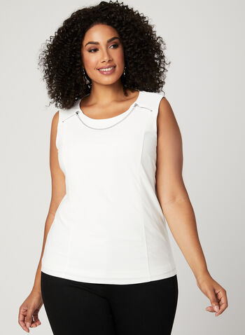 Metallic Detail Sleeveless Blouse, Off White, hi-res
