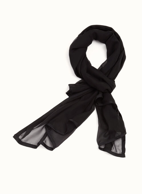 Chiffon & Satin Wrap , Black, hi-res