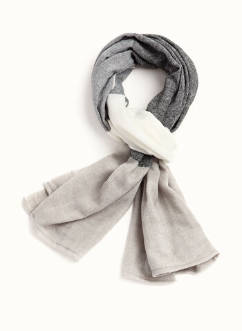 Wide Stripe Scarf, Black, hi-res