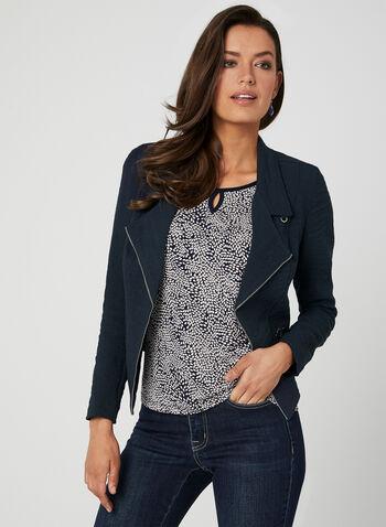 Vex - Zipper Trim Jacket, Blue, hi-res,  Vex, long sleeves, zipper, open front spring 2019