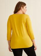 3/4 Sleeve Button Detail T-Shirt, Yellow