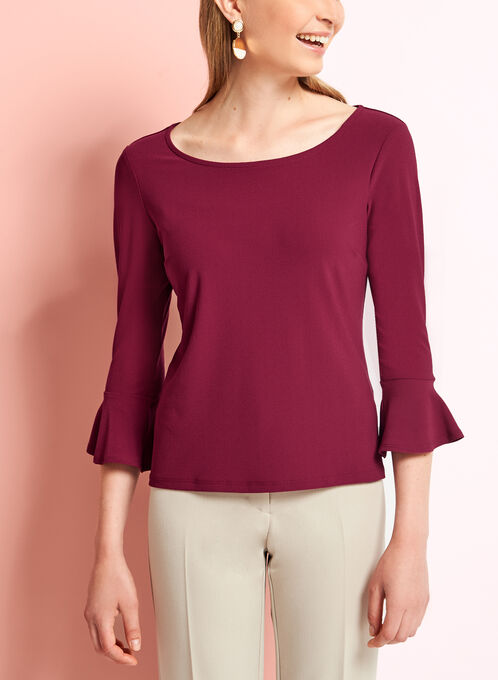 Bell Sleeve Crepe Knit Blouse, Red, hi-res