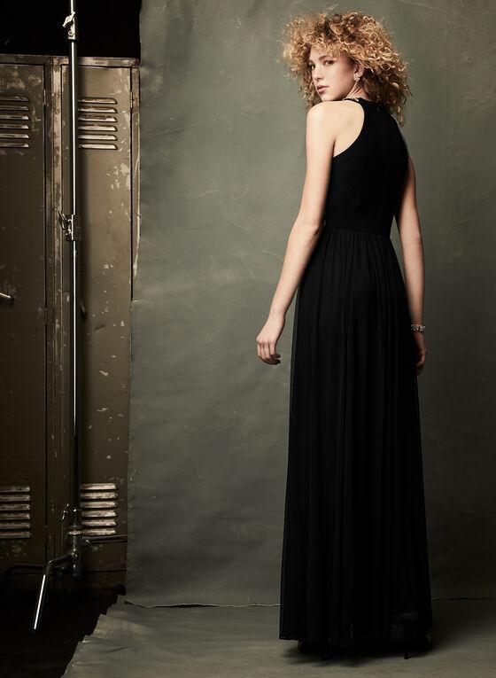 Robe au col Cléopâtre et taille agrémentés, Noir, hi-res