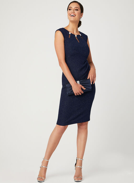 Sleeveless Glitter Sheath Dress, Blue, hi-res