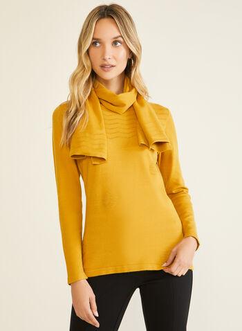 Vex - Pull à détails texturés et écharpe, Jaune,  pull, tricot, manches longues, écharpe, automne hiver 2020