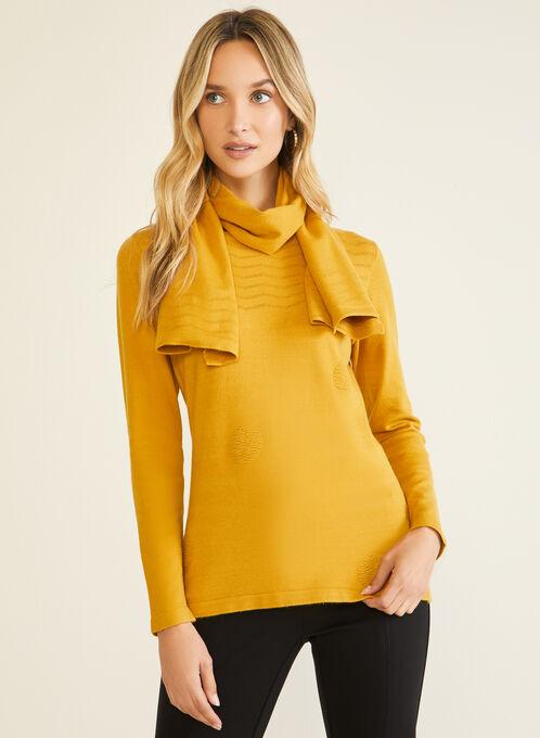 Vex - Textured Sweater & Scarf, Yellow