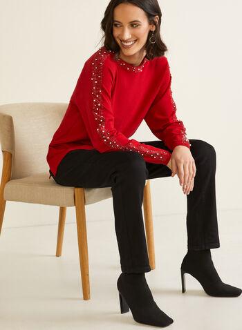 Embellished Dolman Sleeve Sweater, Red,  fall winter 2020, sweater, dolman sleeve, pearl, bead, beaded, pearl detail, detailing, boat neck, long sleeve, tunic, round hem, side slits, comfort, soft, warm, embellished, embellishments