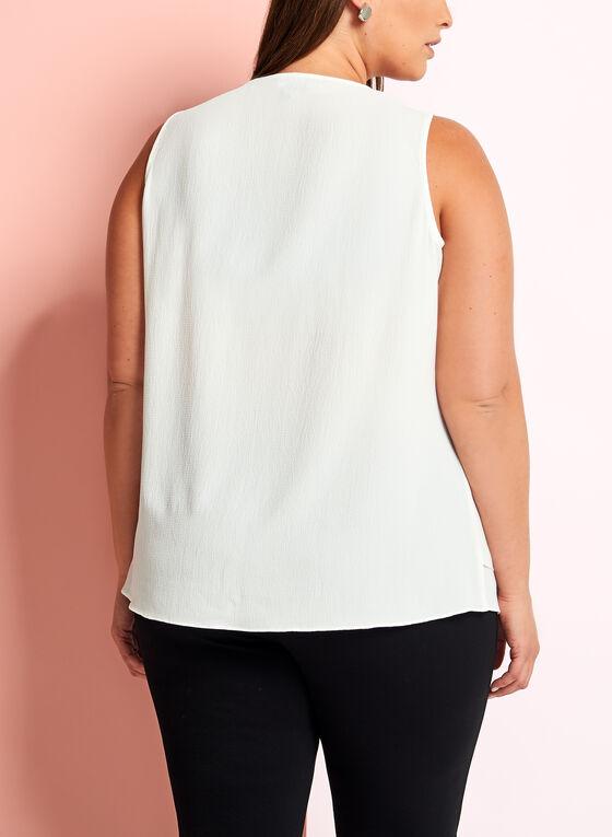 Sleeveless V-Neck Crepe Blouse, Off White, hi-res