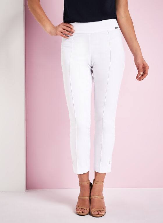Bengaline Pin Tuck Pants, White, hi-res