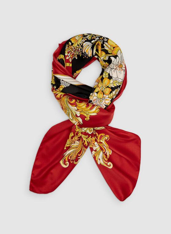Foulard carré à motif floral et pompon, Rouge