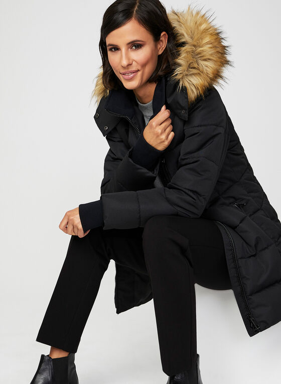 Quilted Faux Down Coat, Black, hi-res