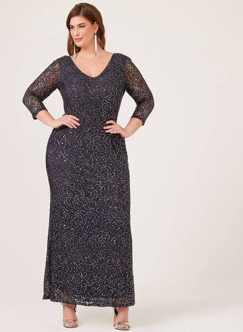 Sequin Lace Dress, Grey, hi-res