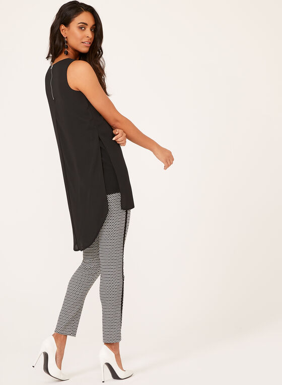 Criss Cross Neck Sleeveless Tunic, Black, hi-res