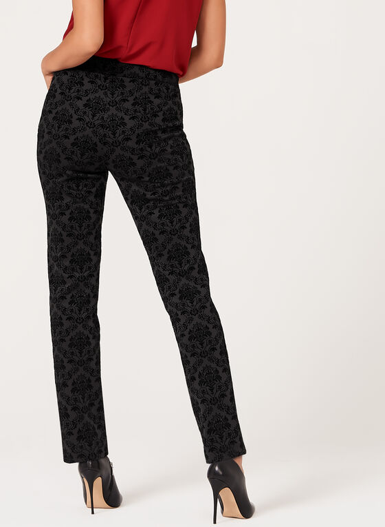 Flocked Pull-On Slim Leg Pants, Black, hi-res
