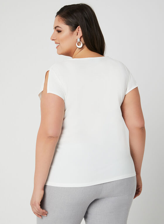 Blouse fleurie à superposition, Blanc, hi-res