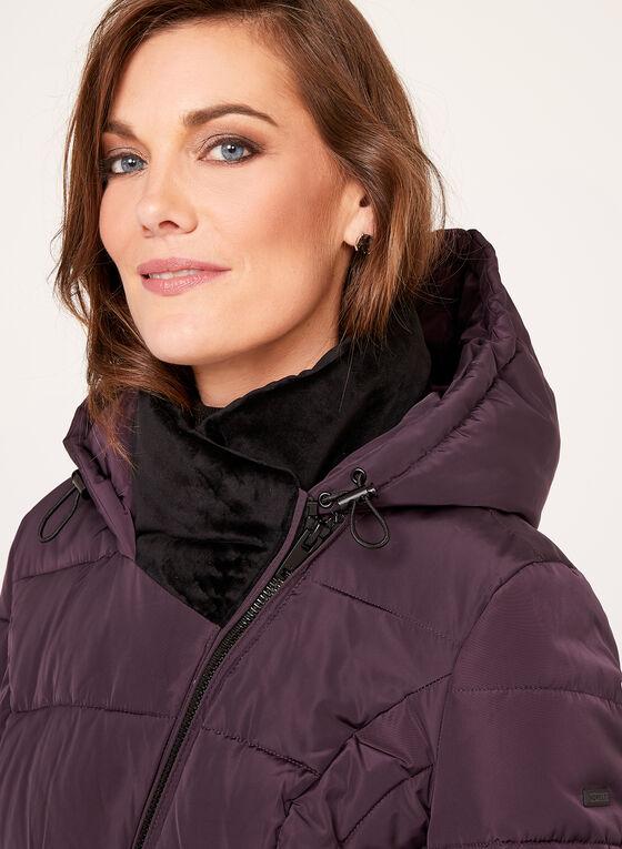 Novelti - Velvet Collar Faux Down Coat, Purple, hi-res
