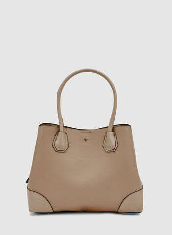 Faux Leather Tote Bag, Brown, hi-res,  spring 2019