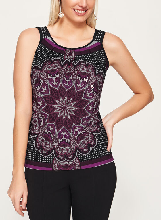 Paisley Print Jersey Top , Purple, hi-res