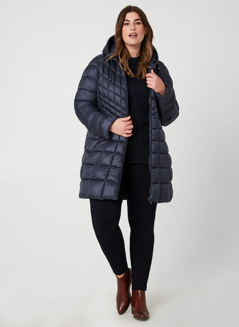 Bernardo - Weatherproof Coat EcoPlume™, Blue,  fall 2019, winter 2019, coat, quilted, vest, eco friendly, hood, long sleeves