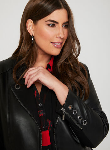 Faux Leather Eyelet Detail Jacket, Black, hi-res