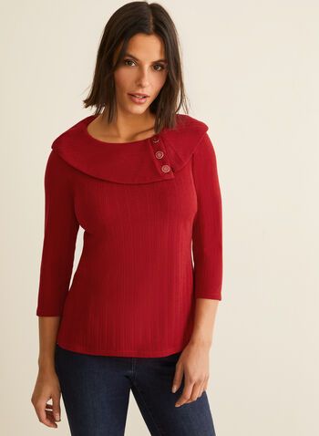 Button Detailed Cowl Neck Top, Red,  canada, top, cowl neck, round neck, 3/4 sleeves, sweater, knit top, fall 2019, winter 2019