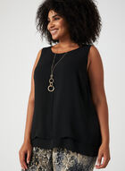 Sleeveless Crepe Blouse, Black, hi-res
