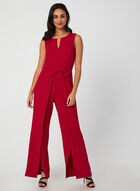 Sleeveless Crepe Jumpsuit, Red